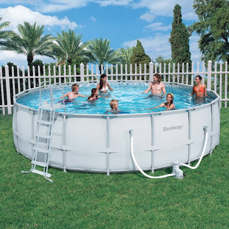Piscine hors sol tubulaire ronde blanche bestway for Piscine rectangulaire bestway