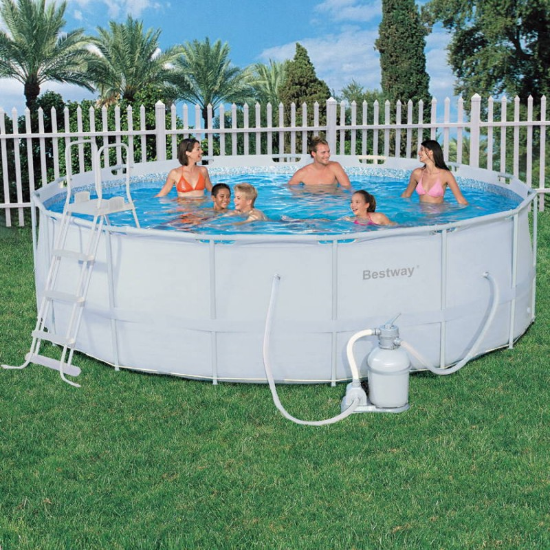 piscine hors sol tubulaire ronde blanche bestway ForPiscine Hors Sol Ronde Bestway