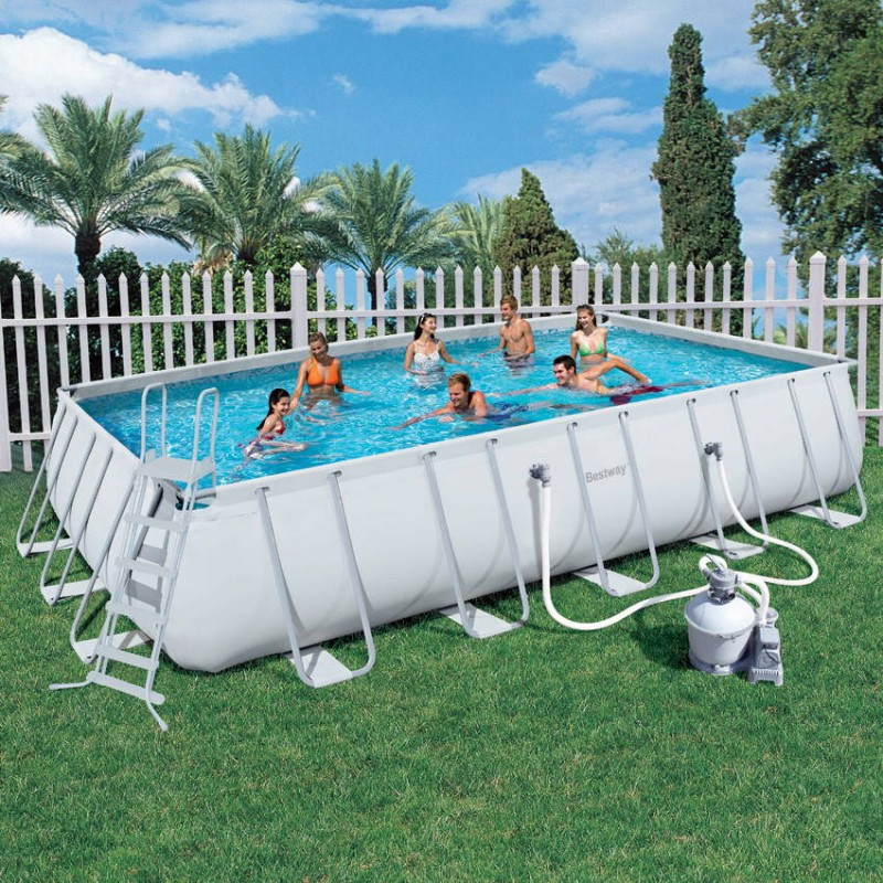 Piscine hors sol blanche tubulaire bestway for Piscine tubulaire
