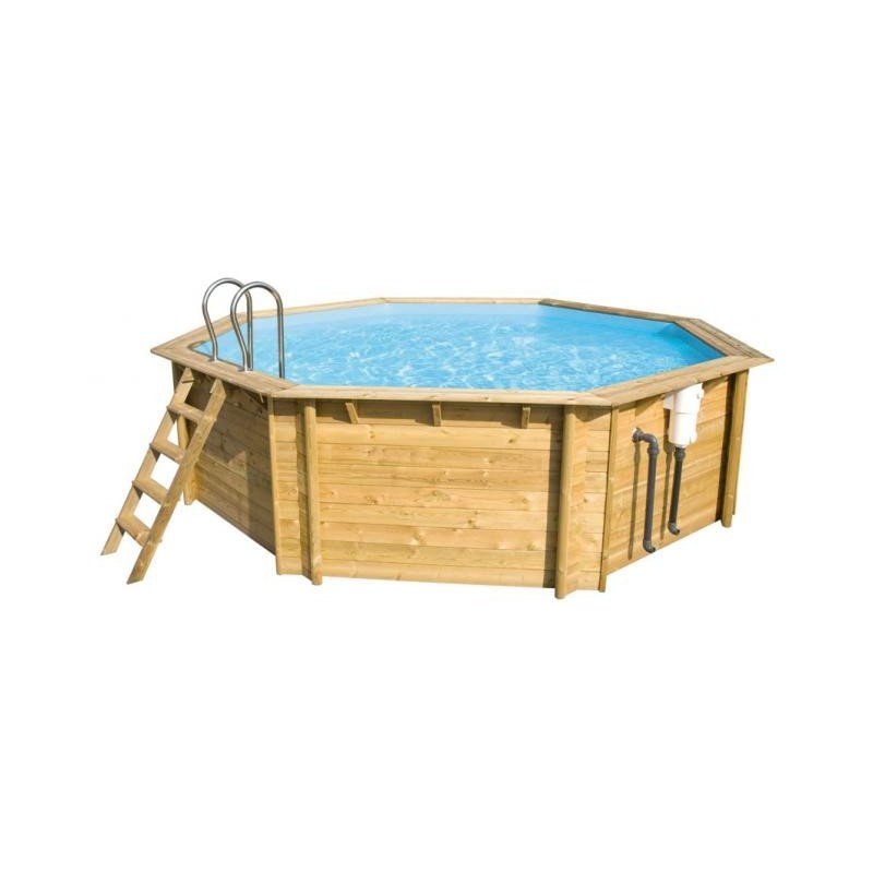Piscine bois octogonale en pin weva 5 30m x h 1 33m en 60 for Piscine bois octogonale