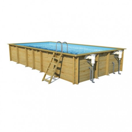 Piscine bois rectangulaire en pin weva 6m x 3m x h 1 33m for Piscine en bois rectangulaire