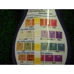 Bandelettes d'analyses Aquachek jaune 4 en 1 Chlore, pH, TAC, Stabilisant