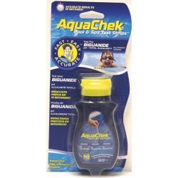 25 Bandelettes d'analyses Aquachek bleu 3 en 1 Biguanide, Alcalinité, pH