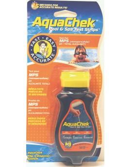 50 Bandelettes d'analyses Aquachek Orange 3 en 1 Oxygène actif, Alcalinité, pH