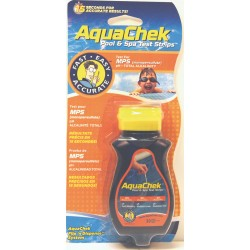 50 Bandelettes d'analyses Aquachek Orange 3 en 1 Oxygène actif, Alcalinité, pH