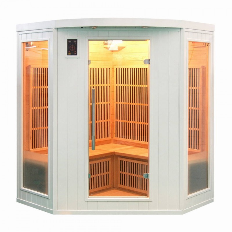 Sauna infrarouge soleil blanc 3 4 places a z piscine - Sauna infrarouge 4 places ...