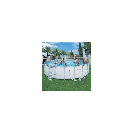 Kit piscine ronde power steel frame pools 5 49m x h 1 32m for Piscine ronde plastique