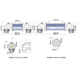 Echangeur thermique Climexel 25 kW / MK-1, nu Titane Gris