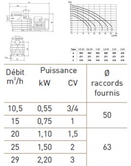 Pompe de filtration Delphino AEP 2.20 kW mono 29m3/h
