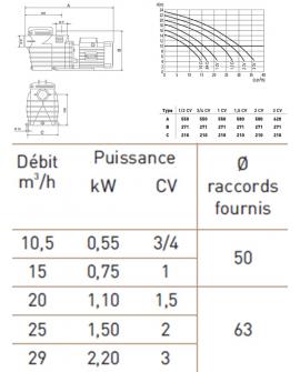 Pompe de filtration Delphino AEP 0.55 kW tri 10.5m3/h