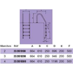Echelle inox standard 3 marches d'accès pour piscine
