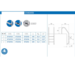 Echelle inox standard 2 marches d'accès pour piscine
