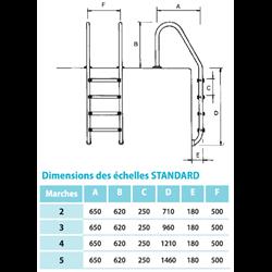Echelle standard inox 5 marches d'accès pour piscine