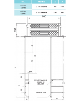 Echelle élégance IPE/Inox 4 marches d'accès pour piscine